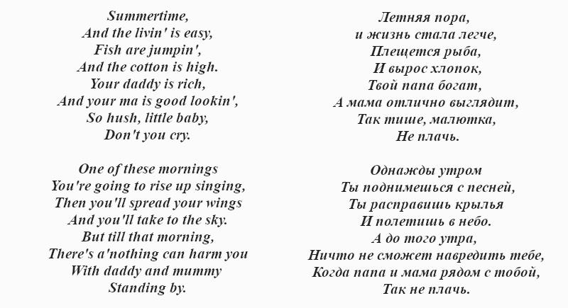 текст ноты Колыбельной Клары «Summertime»