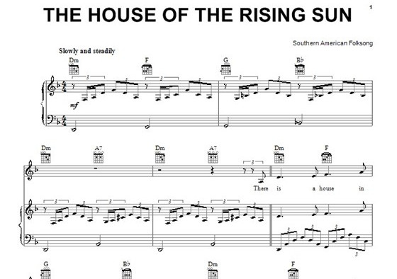 ноты «The House of the Rising Sun»